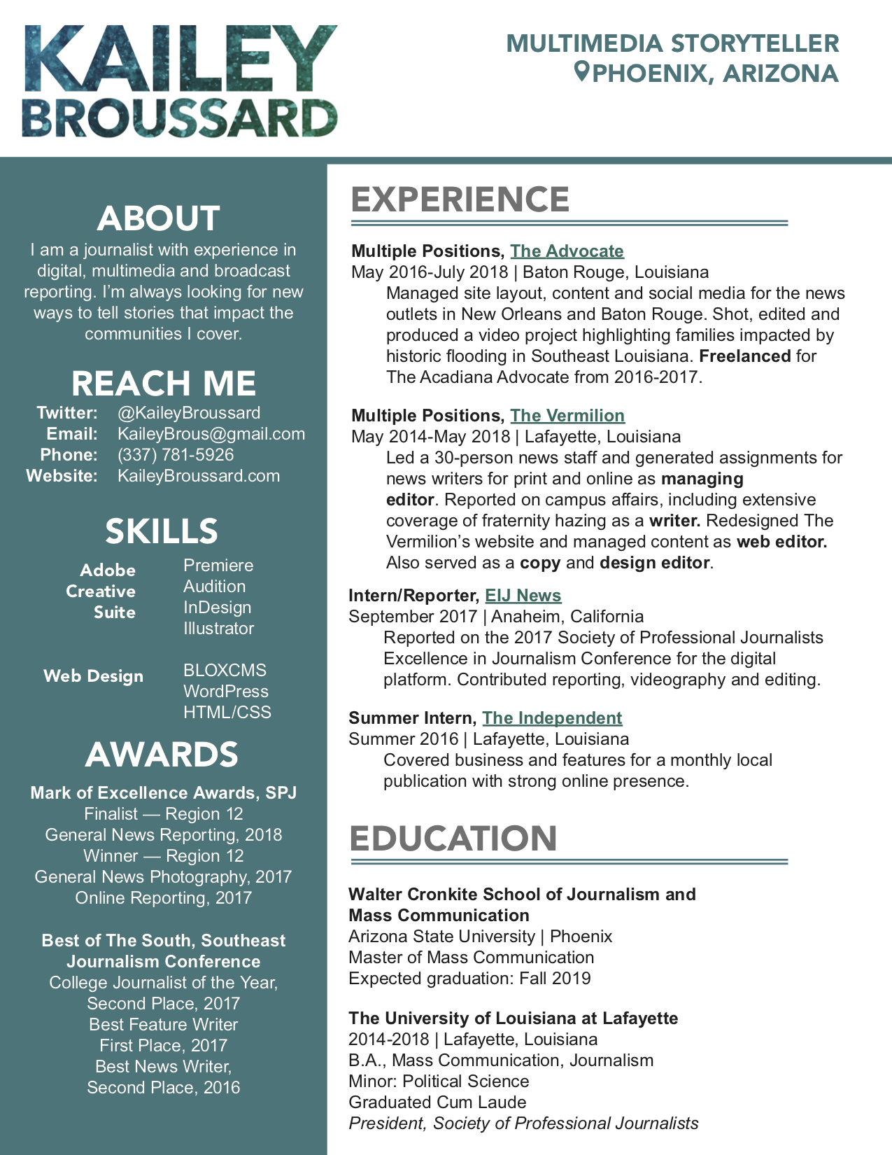Resume – Kailey Broussard